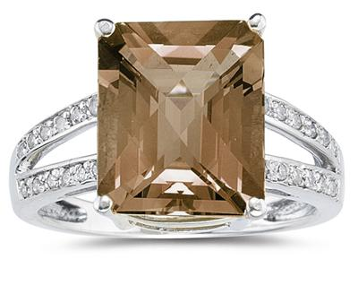Buy 7 Carat Emerald Cut Smoky Quartz Ring