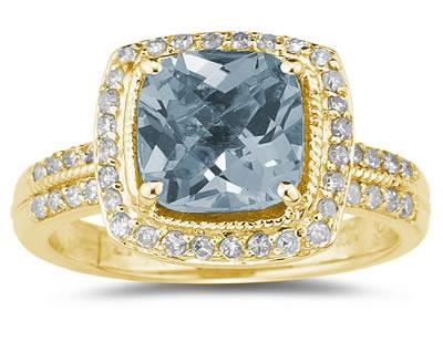 2.50 Carat Cushion Cut Aquamarine and Diamond Ring in 14K Yellow Gold