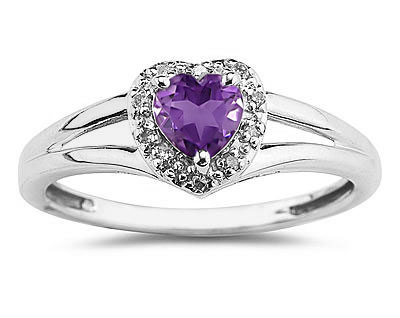 Heart Shaped Amethyst and Diamond Ring,  10K White Gold