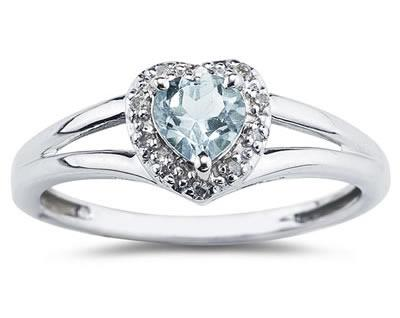 Heart Shaped Aquamarine and Diamond Ring, 10K White Gold