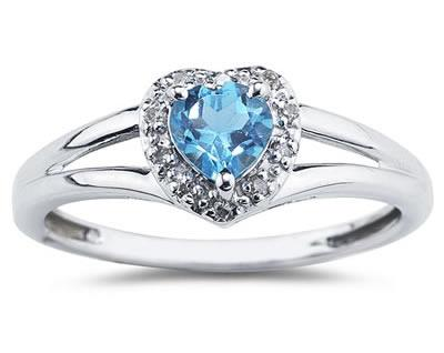 Heart Shaped Blue Topaz and Diamond Ring, 10K White Gold