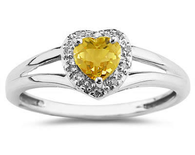 Heart Shaped Citrine and Diamond Ring, 10K White Gold