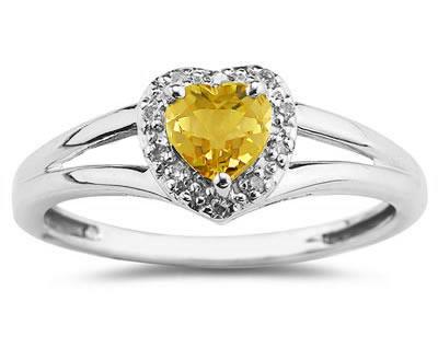 Heart Shaped Citrine and Diamond Ring, 10K White Gold