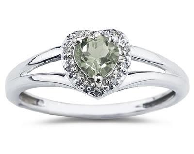 Heart Shaped Green Amethyst and Diamond Ring, 10K White Gold