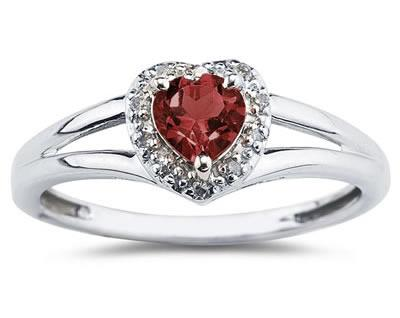 Heart Shaped Garnet and Diamond Ring, 10K White Gold