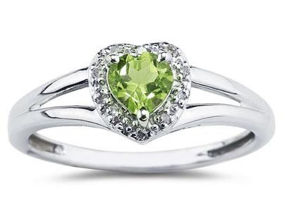 Heart Shaped Peridot and Diamond Ring, 10K White Gold