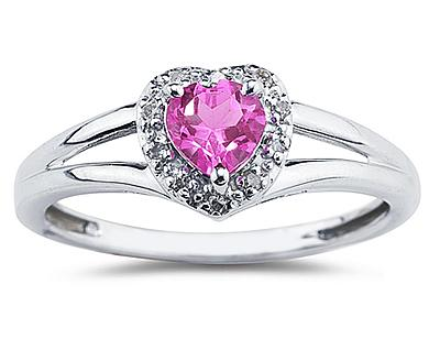 Heart Shaped Pink Topaz and Diamond Ring, 10K  White Gold