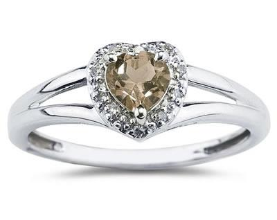 Buy Heart Shaped Smokey Quartz and Diamond Ring, 10K White Gold
