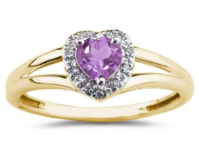 Heart Shaped Amethyst and Diamond Ring, 10K Yellow Gold