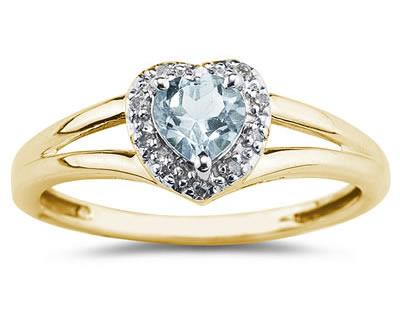 Heart Shaped  Aquamarine and Diamond Ring, 10K Yellow Gold