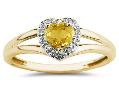 Heart Shaped Citrine and Diamond Ring, 10K Yellow Gold