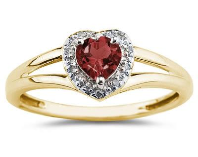 Heart Shaped  Garnet   and Diamond Ring, 10K Yellow Gold