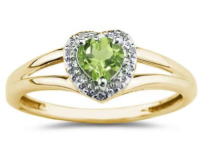 Heart Shaped Peridot and Diamond Ring, 10K Yellow Gold