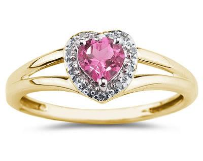Heart Shaped  Pink Topaz and Diamond Ring, 10K Yellow Gold
