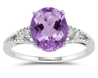 1.75 Carat Oval Cut Amethyst & Diamond Ring in 14K White Gold