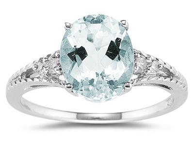 1.75 Carat Oval Cut Aquamarine & Diamond Ring in 14K White Gold