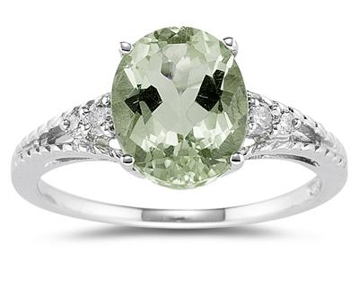 1.75 Carat Oval Cut Green Amethyst & Diamond Ring in 14K White Gold