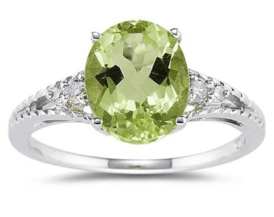 1.75 Carat oval cut peridot diamond ring in 14k white gold