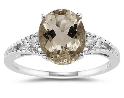 1.75 Carat Oval Cut Smokey Quartz & Diamond Ring in 14K White Gold