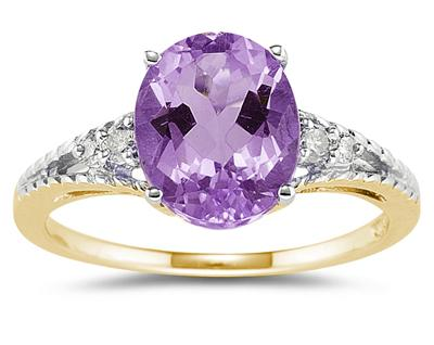 1.75 Carat Oval Cut Amethyst & Diamond Ring in 14K Yellow Gold