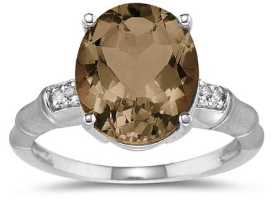 3.97 Carat  Smokey Quartz and Diamond Ring in 14K White Gold