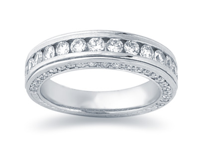 1.33 Carat Diamond Wedding Band in 14K White Gold