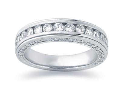 1.33 Carat Diamond Wedding Band in 14K White Gold