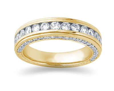 1.33 Carat Diamond Wedding Band in 18K Yellow Gold