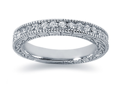 0.38 Carat Diamond Wedding Band in 14K White Gold