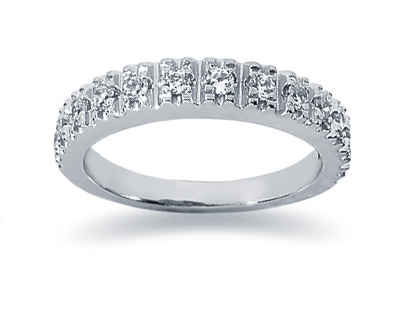 0.39 Carat Diamond Wedding Band in 18K White Gold