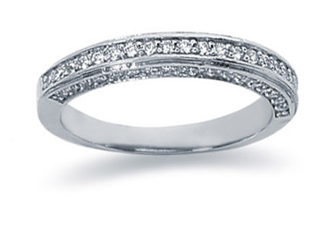 0.56 Carat Diamond Wedding Band in 18K White Gold