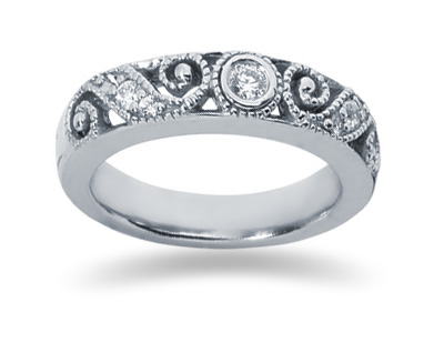 Diamond Swirl Band in 14K White Gold