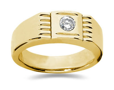 0.25 Carat Men's Diamond Ring in 14K Yellow Gold