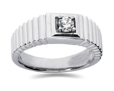 0.25 Carat Men's Diamond Ring in 18K White Gold