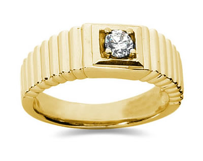 0.25 Carat Men's Diamond Ring in 18K Yellow Gold