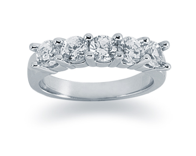 1.25 Carat Five Stone Diamond Band in 14K White Gold