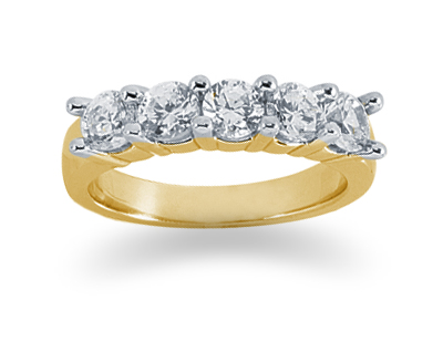 1.25 Carat Five Stone Diamond Band in 18K Yellow Gold