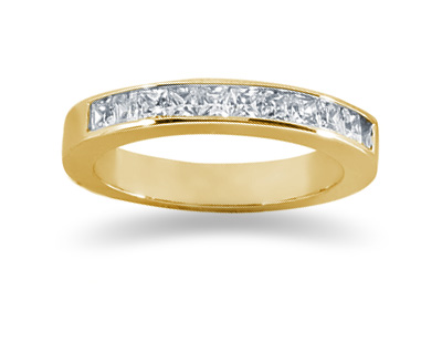 0.55 Carat Princess Cut Diamond Wedding Band in 18K Yellow Gold