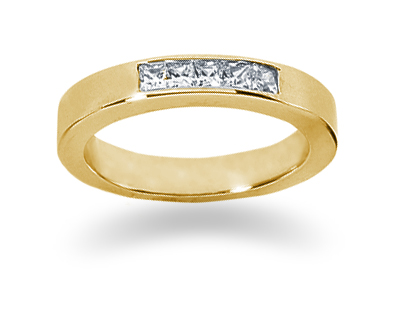 0.25 Carat Princess Cut Diamond Wedding Band in 18K Yellow Gold