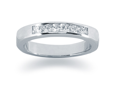 0.35 Carat Princess Cut Diamond Wedding Band in 18K White Gold
