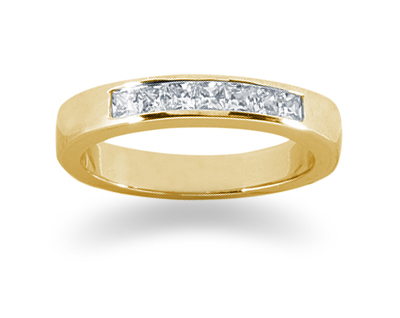 0.35 Carat Princess Cut Diamond Wedding Band in 18K Yellow Gold