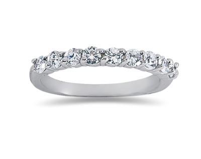 0.63 Carat Nine Stone Diamond Wedding Band in 18K White Gold