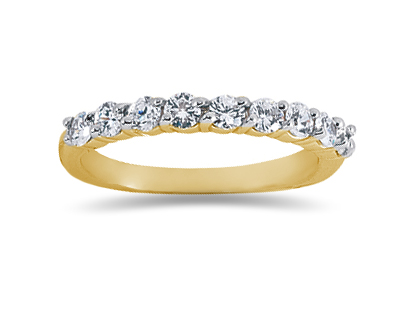0.63 Carat Nine Stone Diamond Wedding Band in 18K Yellow Gold