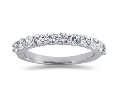 0.77 Carat Nine Stone Diamond Wedding Band in 18K White Gold