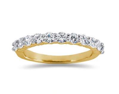 0.77 Carat Nine Stone Diamond Wedding Band in 18K Yellow Gold
