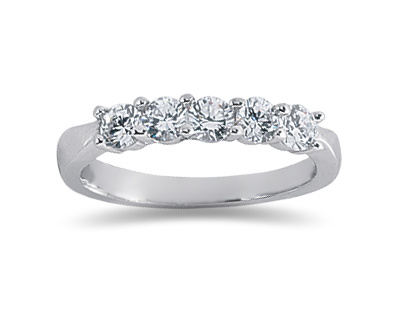 0.75 Carat Five Stone Diamond Wedding Band in 18K White Gold