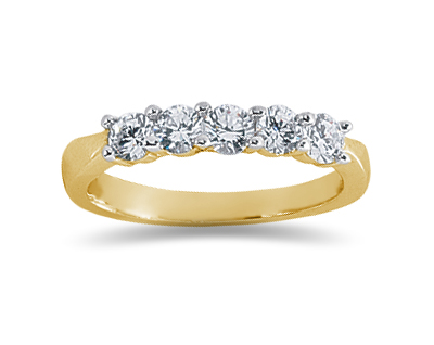 0.75 Carat Five Stone Diamond Wedding Band in 18K Yellow Gold