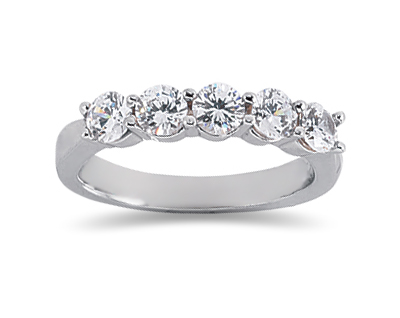 Buy 1.00 Carat Five Stone Diamond Wedding Band in 18K White Gold