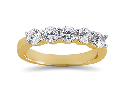 1.00 Carat Five Stone Diamond Wedding Band in 18K Yellow Gold