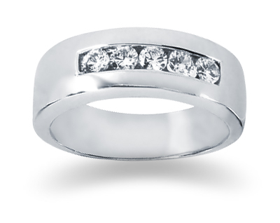 0.40 Carat Women's Diamond Wedding Band in 18K White Gold